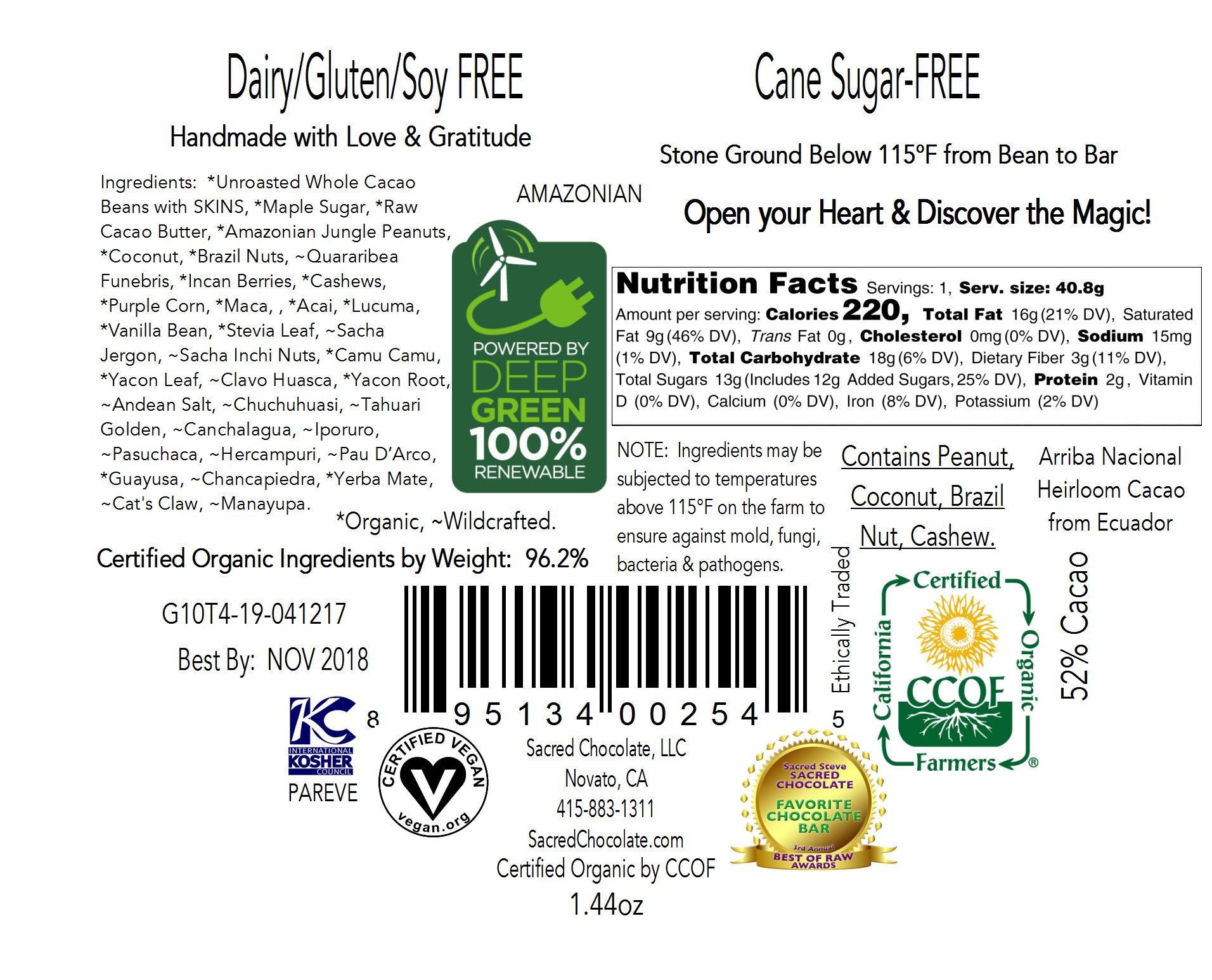 Amazonian 1.44oz Heart Bar - Back Label
