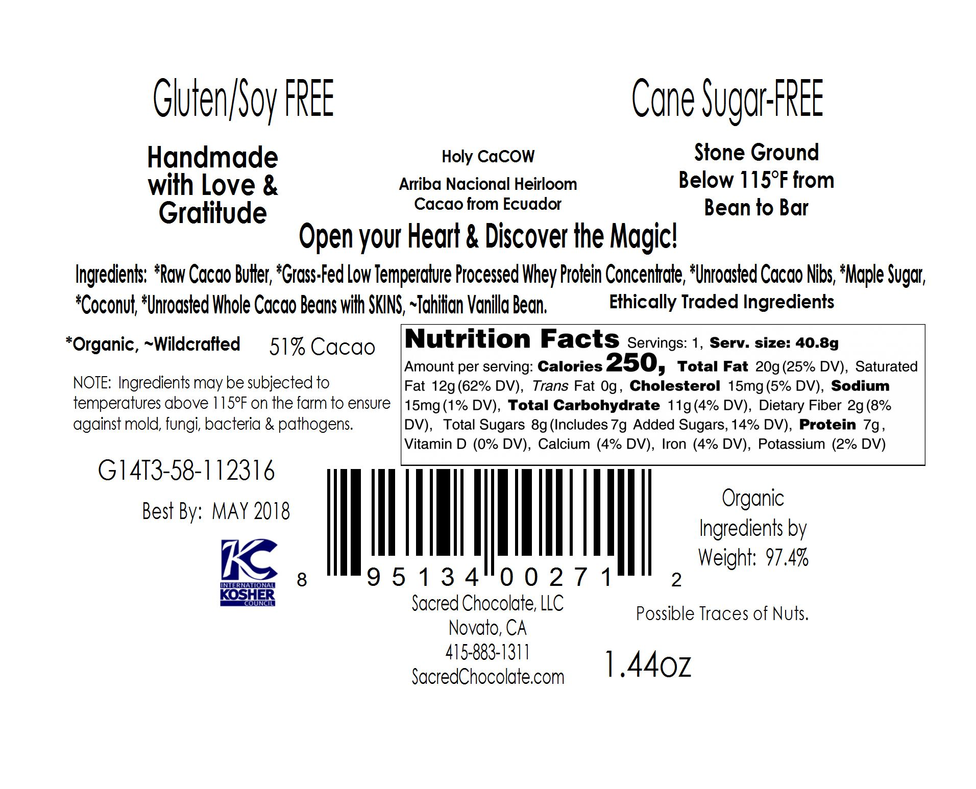 Holy CaCow back Label