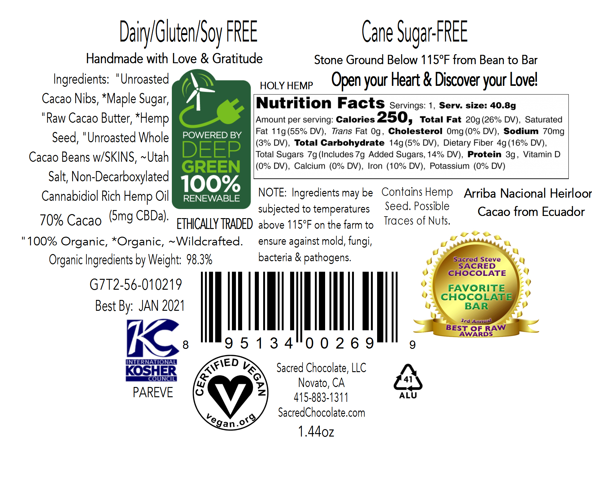 Holy Hemp Back Label