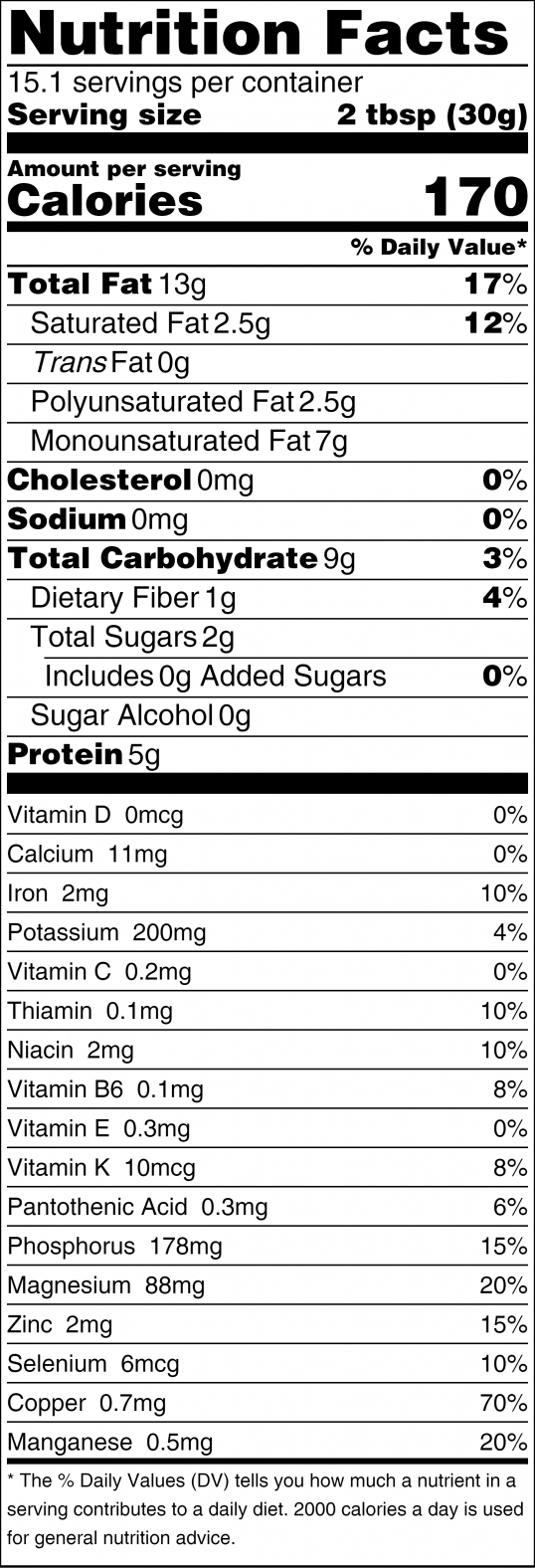 Cashew Butter Nutrition Facts