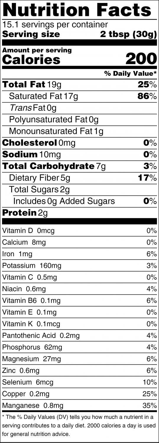 Sacred Foods Coconut Butter Nutrition Facts