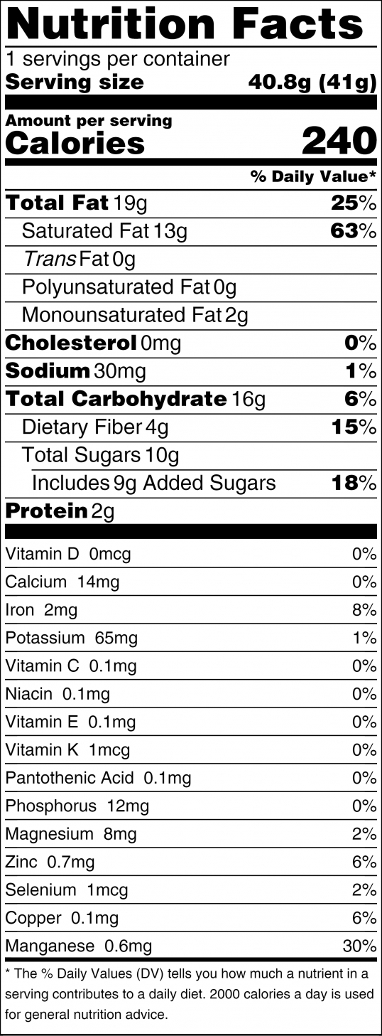 Coco Nibby Nutrition Facts