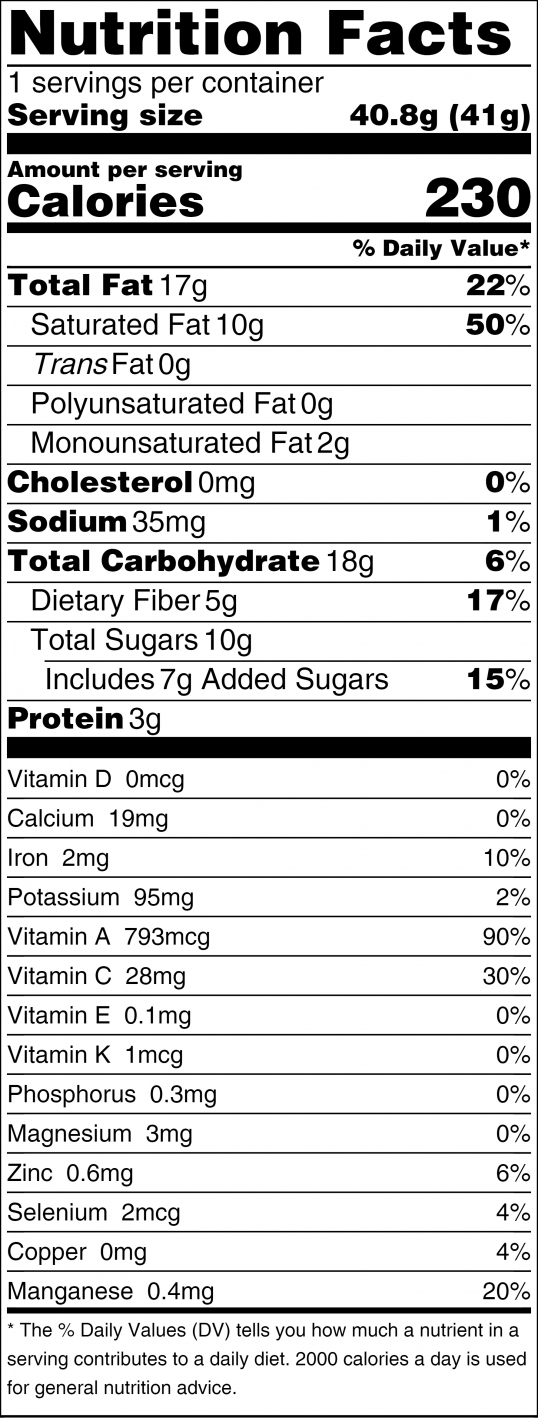 Goji Nibby Nutrition Facts