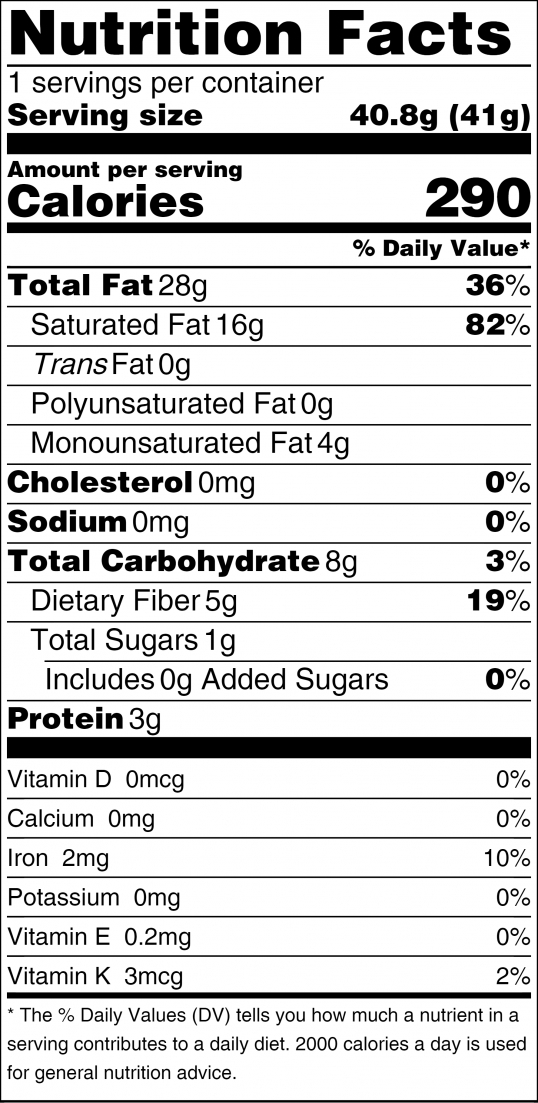 Heart of Cacao Nutrition Facts