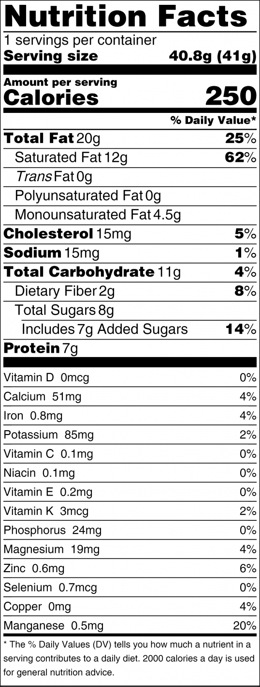 Holy CaCow Nutrition Facts