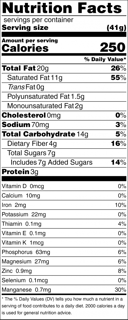 Holy Hemp Nutrition Facts