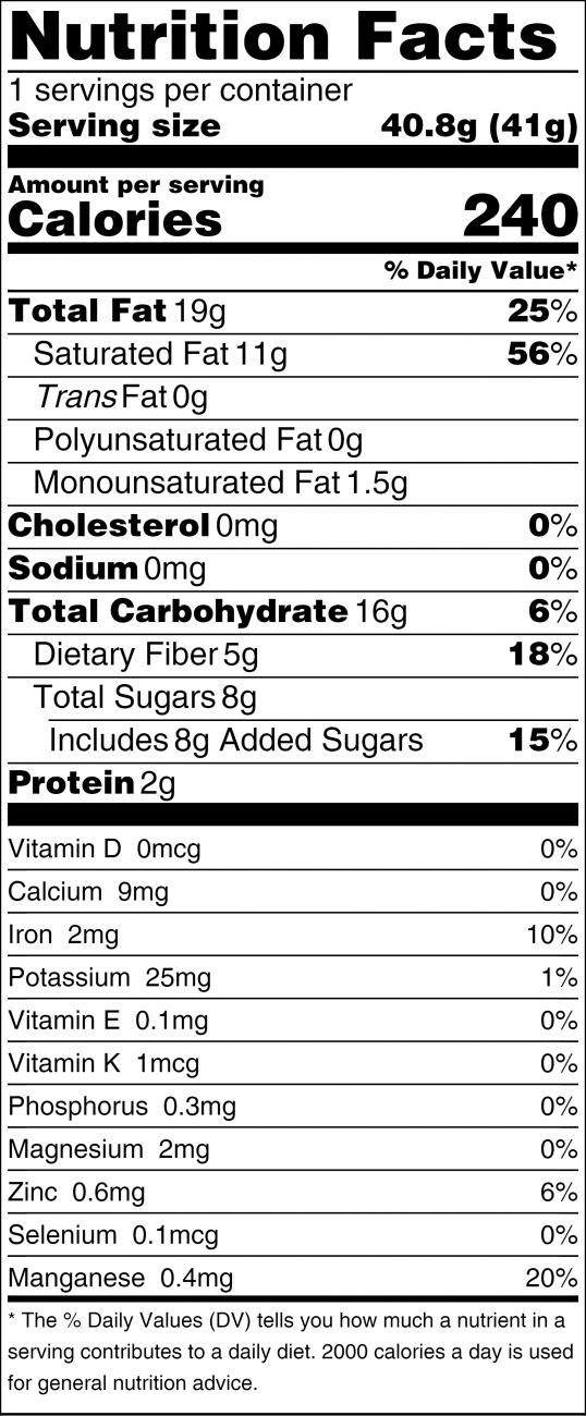 Noniland Chocolate Nutritional Facts