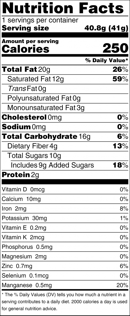 TUMO NUTRITION FACTS